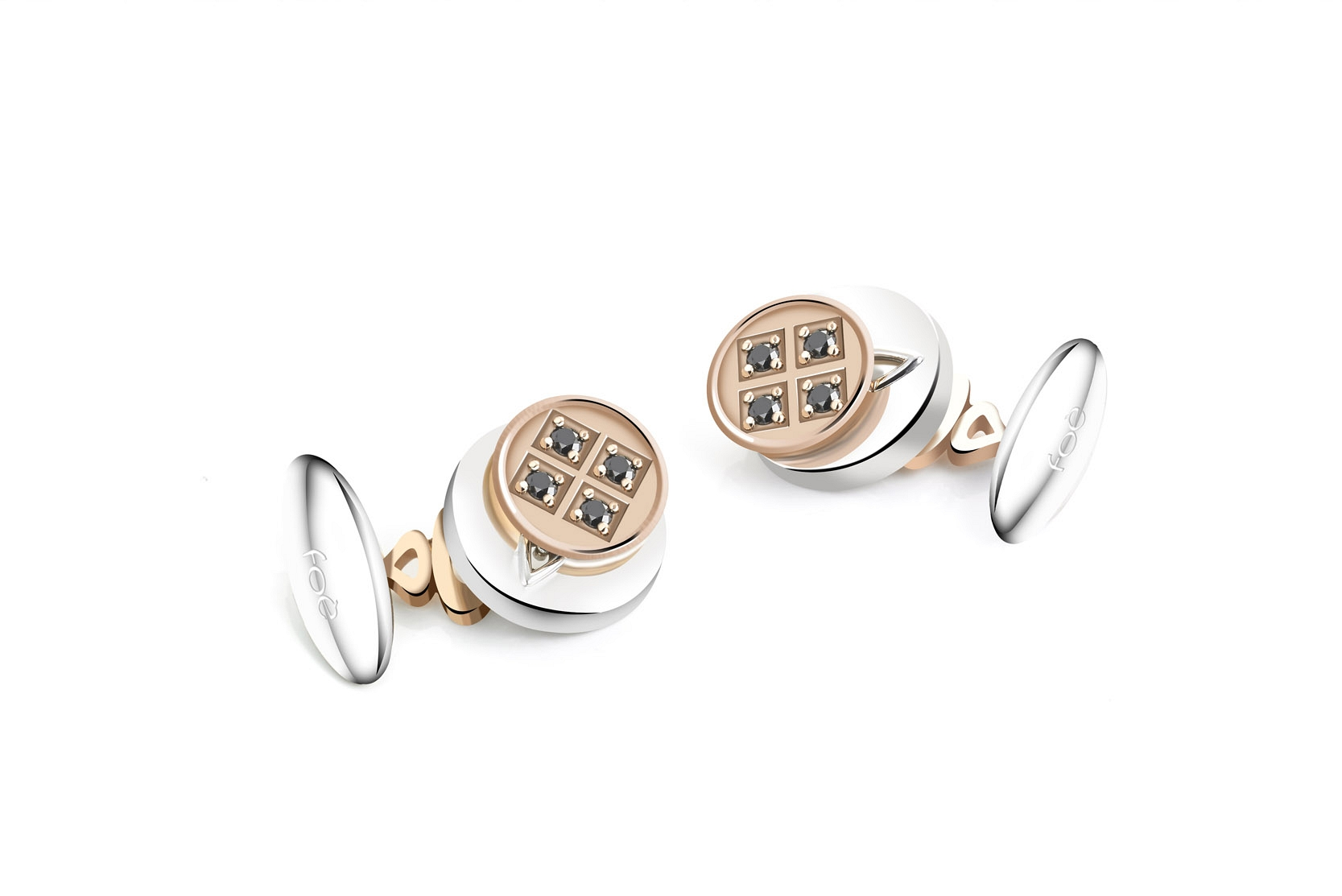 Cufflinks white and rose gold
