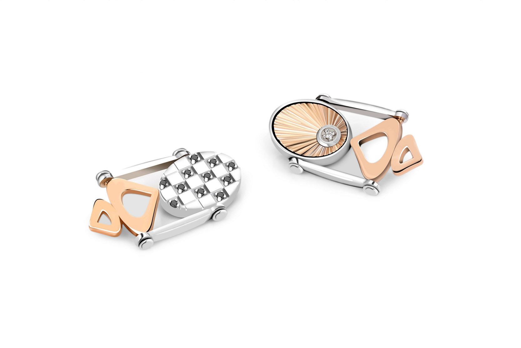 White and rose gold cufflinks
